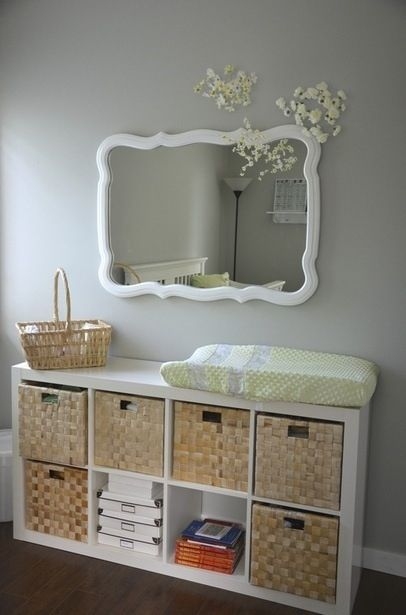 Storage Ideas. love the baskets for toy storage after baby clothes/diaper supplies are done