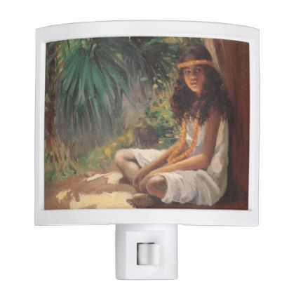Portrait of a Polynesian Girl - Helen T. Dranga Night Light - girl gifts special unique diy gift idea