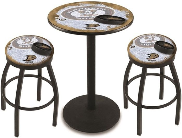 Anaheim Ducks NHL D2 Black Pub Table Set. Available in 28-inch or 36-inch diameter Table Top. Visit SportsFansPlus.com for details.