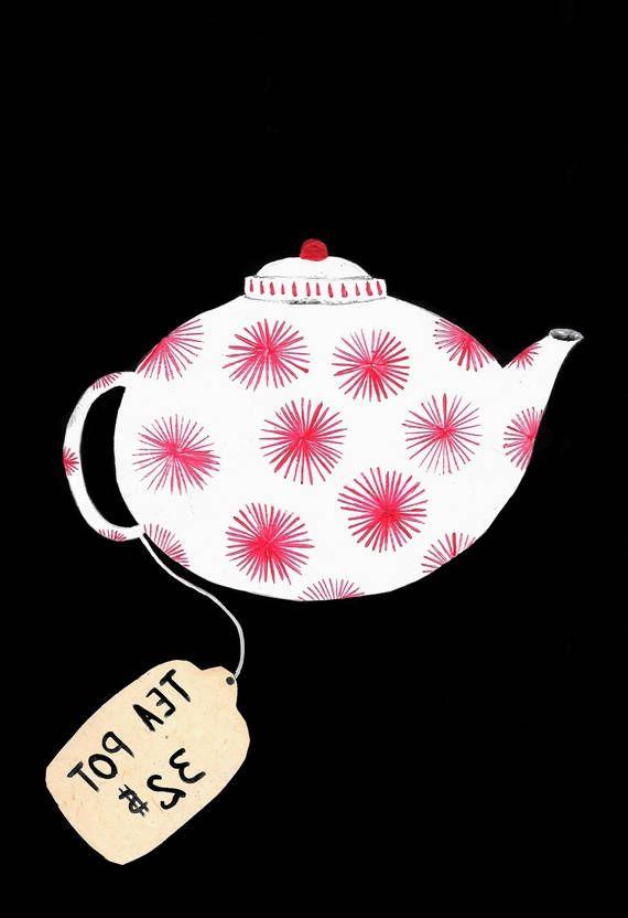 Tea Pot peinture orignale gouache aquarelle theière brocante