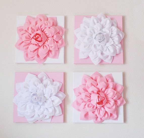 """Nursery Wall Decor -SET OF FOUR Light Pink and White Flower Wall Hangings 12 x12"""" Canvases Flower Wall Art-"""