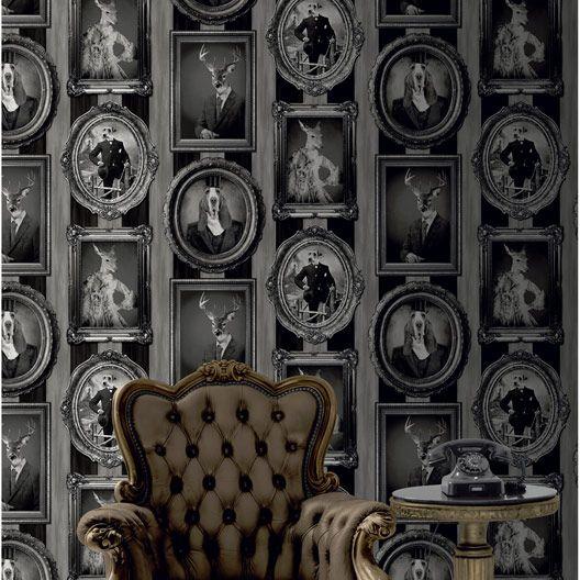 Papier peint vinyle sur intissé Cadres animaux, noir