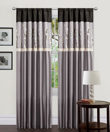 Take a look at this Black & Silver Cocoa Flower Window Curtain by Triangle Home Fashions on #zulily today!