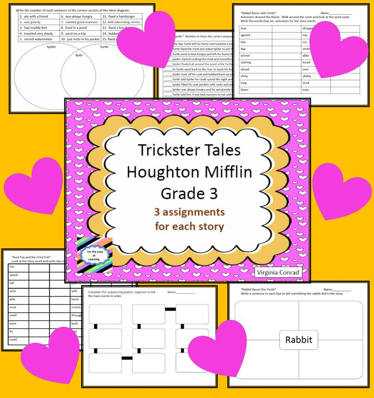 worksheets and activities for the fun Trickster Tales unit in Third Grad Houghton Mifflin