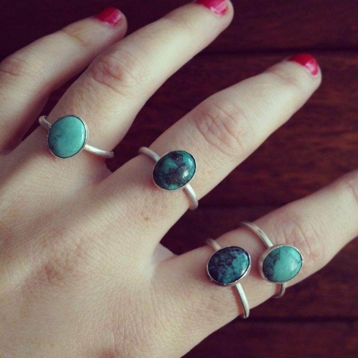 Ring sterling silver and natural turquoise bead de Crystallites en Etsy