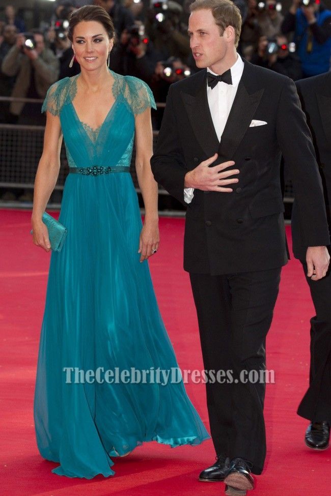 Catherine Middleton, the Duchess of Cambridge was spotted on the red carpet at the British Olympic Team GB gala event at the Royal Albert Hall in London with husband Prince William. She wore a teal pleated gown with a short V-neckline, lace detailing on the back & sleeves and embellishment on the waist. SO GORGEOUS !