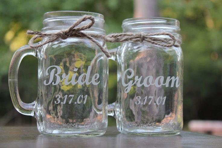 mason jar beer mugs at wedding | Mason Jars Mugs, Wedding Bridal Party, Mason Jars, 2 mugs