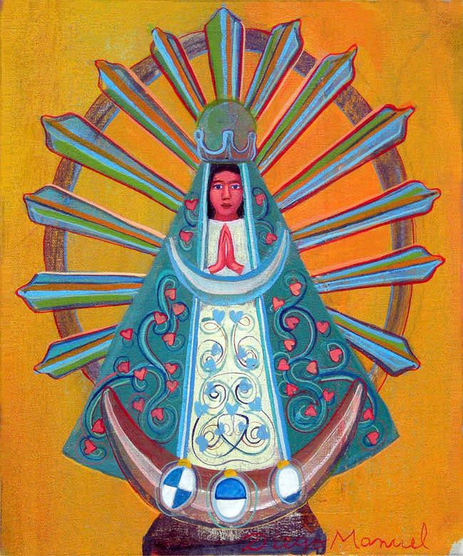 Virgen de Lujan 5, acrylic on canvas. 26 x 21 cm. 2015 painting by Diego Manuel