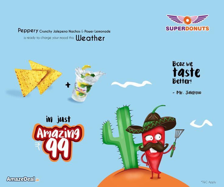 Feel the munch with peppery flavour and soothing lemonade with a combo pack of Rs.99 at SuperDonuts. Visit www.amazedeal.in to catch the offer now!  #AmazeDeal #AmazingSavings #StayAmazed