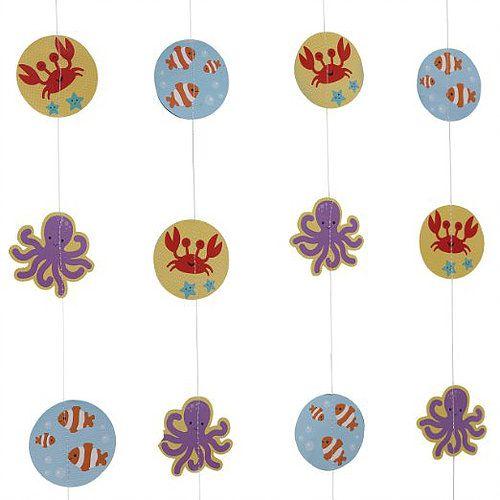Schommelpaard Thema - www.confettienco.be #decoratie #verjaardag #kinderen #feest #zee #blauw #walvis #vis #slinger #water #webshop
