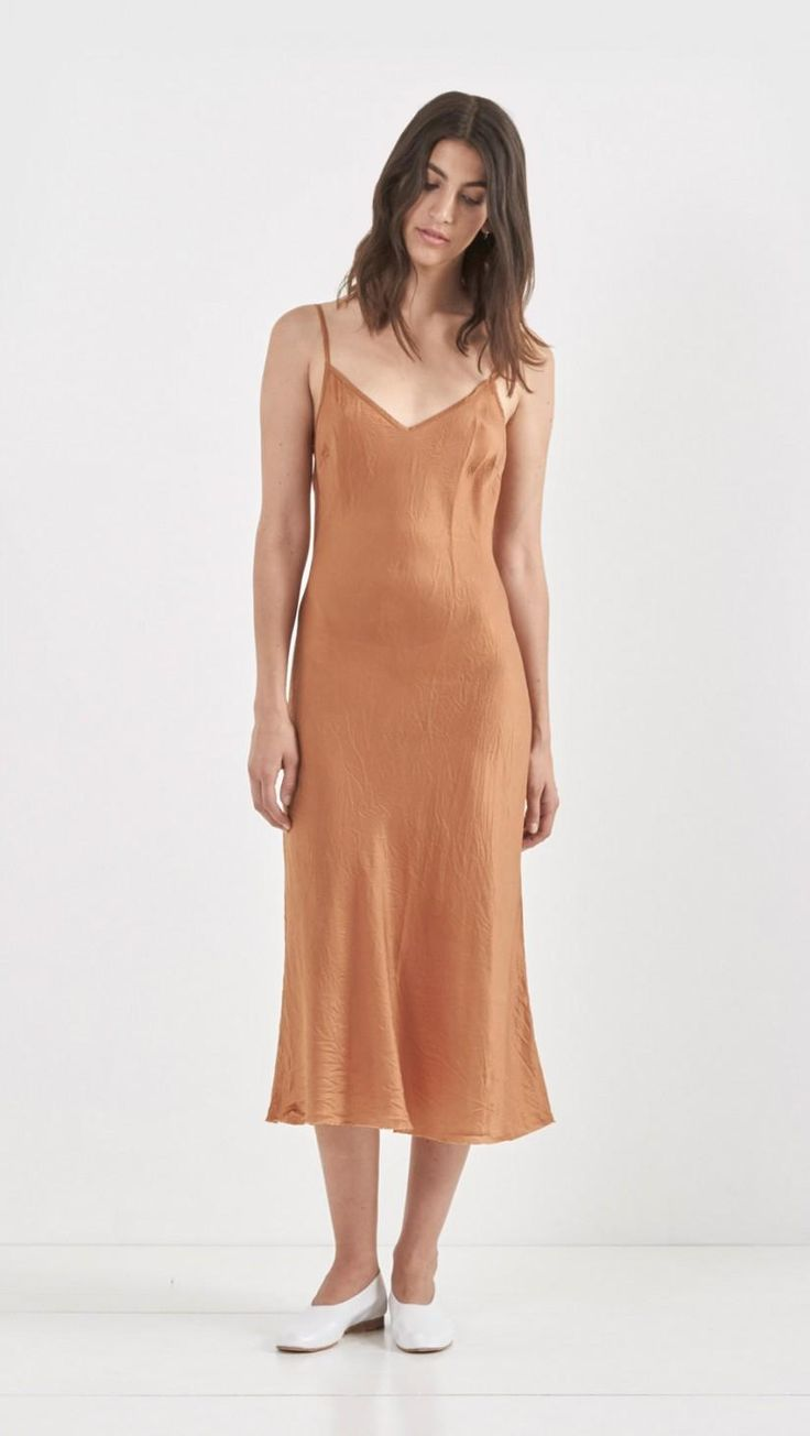 Organic By John Patrick Long Slip Dress in Umber | The Dreslyn