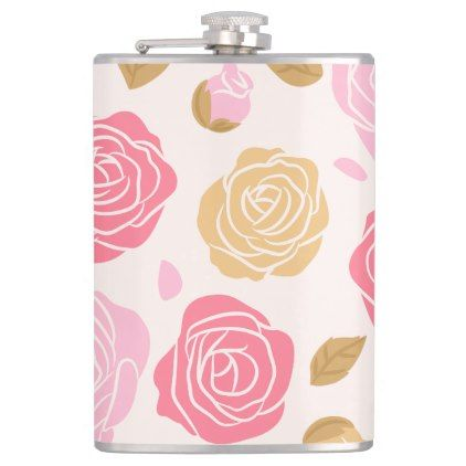Cute Roses Blossom Pink Natural  Hip Flask - spring wedding diy marriage customize personalize couple idea individuel