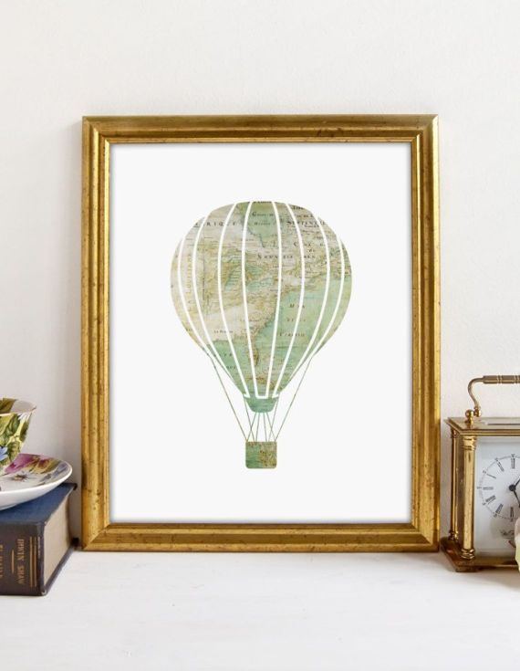 Show your love for adventure with the vintage map designed hot air balloon printable art.  This is an INSTANT DOWNLOAD
