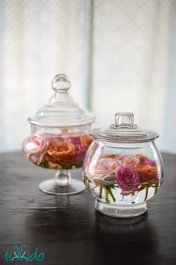 DIY Easy Apothecary Jar and Rose Floral Arrangements | TikkiDo.com