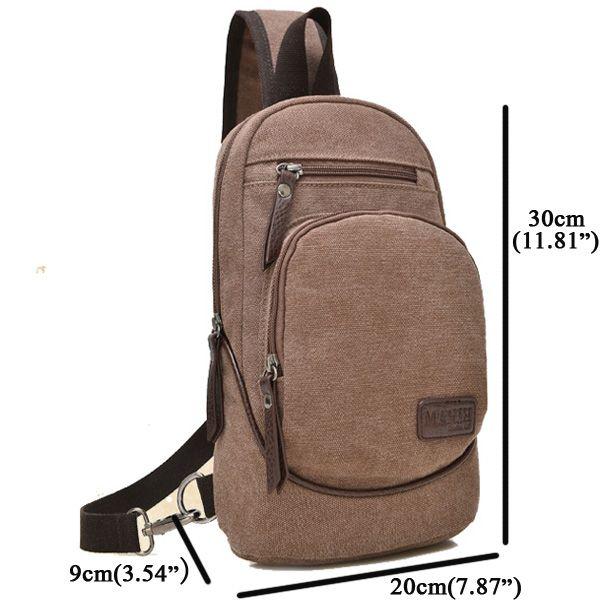 Men Canvas Leisure Backpack Outdoor Travel Multifunction Crossbody Bag