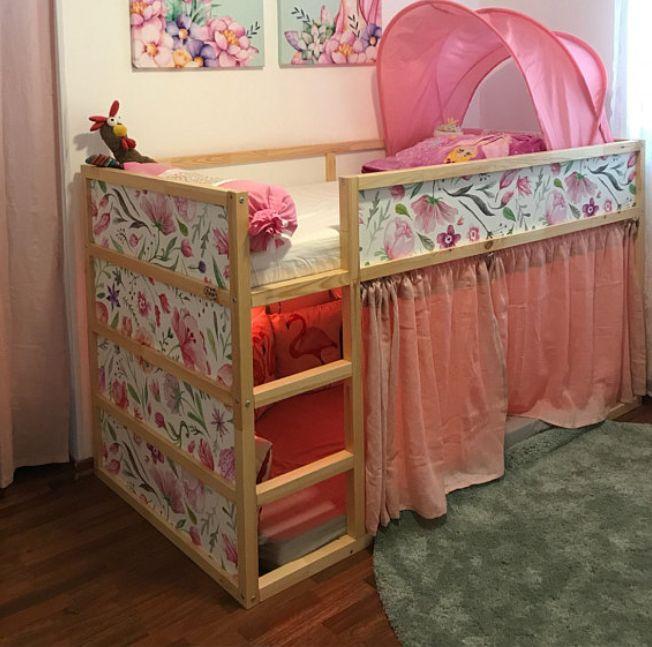 Colorful flowers ikea hack on kura bed by coloradecor team #wallpaper #kurabed #kurawrap #ikeahacks