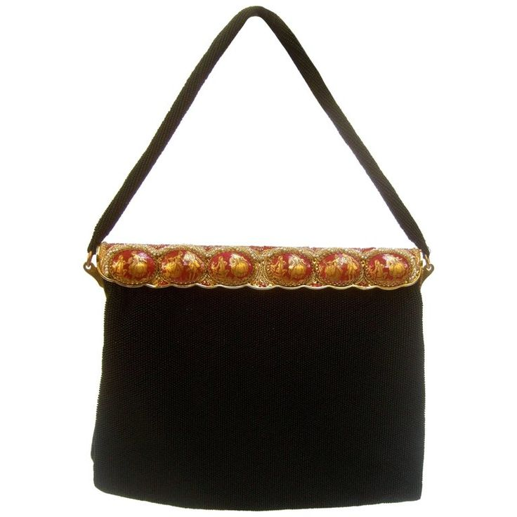 Opulent French Ebony Glass Beaded Evening Bag c 1960s  | From a collection of rare vintage evening bags and minaudières at https://www.1stdibs.com/fashion/handbags-purses-bags/evening-bags-minaudieres/