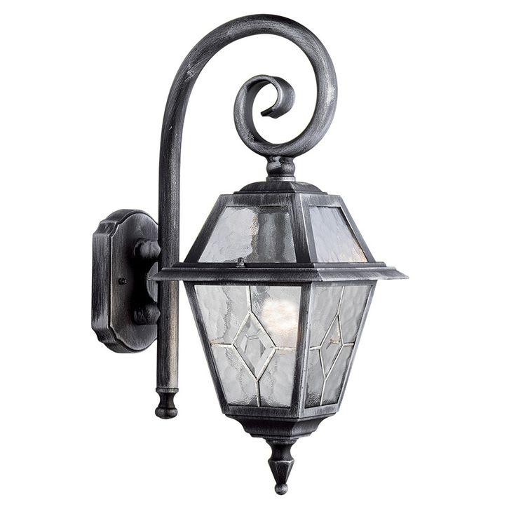 Searchlight GENOA OUTDOOR WALL LIGHT 1 LIGHT BLACK/SILVER