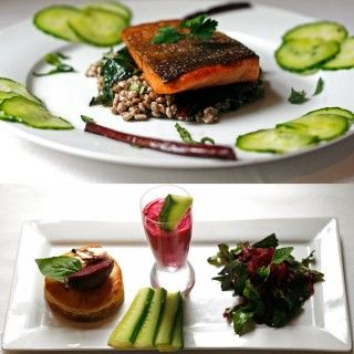 A #freshlyblogged spring celebration! Salmon, lentils and pickled cucumber 'carpaccio' accompanied by a beet trio, click on the pic to find out more about  Natasha Silva's week 8 dish! #recipe #picknpay