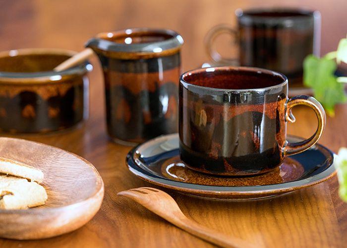 日本の民芸のような落ち着く風合い  アラビア/ARABIA ソラヤ/Soraya コーヒーカップ&ソーサー