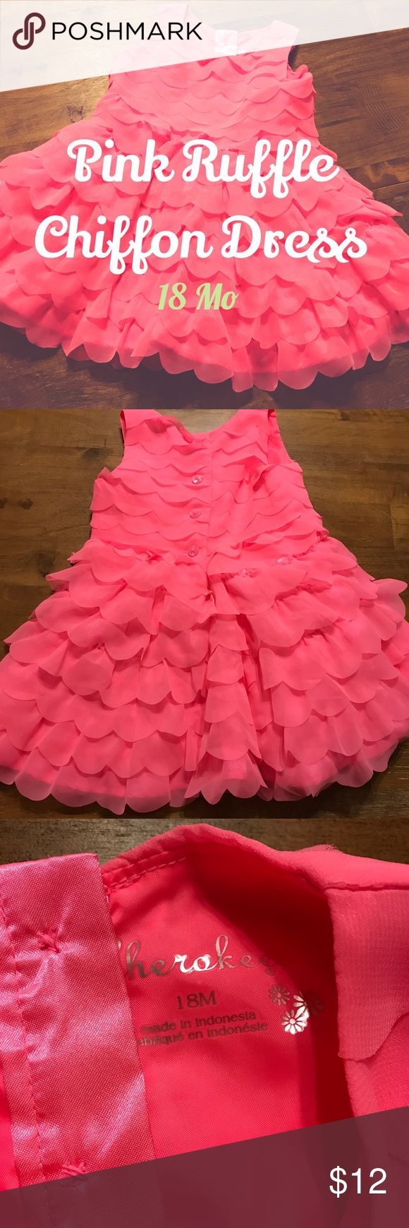 Cherokee pink chiffon dress 18 months Ruffled chiffon in bright pink. Button closure on back. Target Cherokee brand. Size 18 Months Cherokee Dresses Formal
