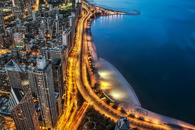 Chicago LSD #ridecolorfully Lake Shore Drive Aerial - Blue and Gold Chicago by Mister Joe, via Flickr