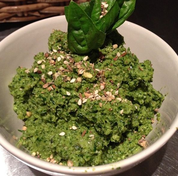 Silverbeet & Broccoli Pesto:  1 cup basil leaves 1 cup fresh silverbeet 1 broccoli head  handful of shallots handful of walnuts 1 garlic clove juice of 1/2 lemon 2 tbsp olive oil 1 tbsp filtered water