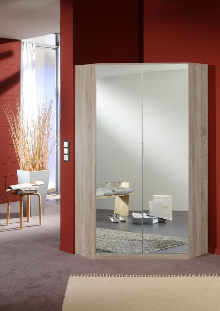 Munich 2 Door Corner German Wardrobe Mirrored And Oak 2970 In 2020 Corner Wardrobe Mirrored Wardrobe Door Furniture