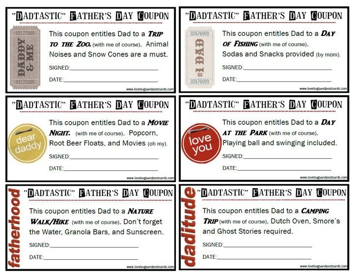 """""""Dadtastic"""" Father's Day Coupons {Free Printable}   Father ..."""