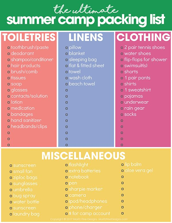 free summer printables | summer camp packing list | organize for summer camp | free printables