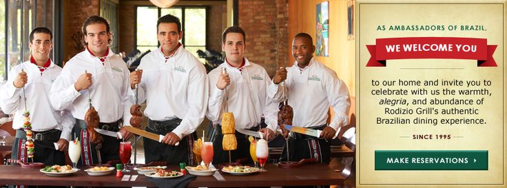 Rodizio Grill the Brazilian Steakhouse Restaurant or Churrascaria featuring grilled meat skewers carved tableside by Brazilian Gauchos.