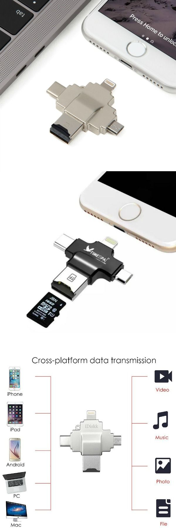 4-in-1 design allows you to access all devices: Easily transfer files, photos, and videos between iPhone, iPad, iPod, Android Phones, PCs and Mac Computers with USB-A and USB-C Connector. #affiliate