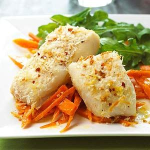 Parmesan-Crusted Fish: A light Parmesan cheese and bread crumb topping coats this baked fish main dish that's ready to serve in less than 30 minutes. Add carrots and greens to round out the meal.