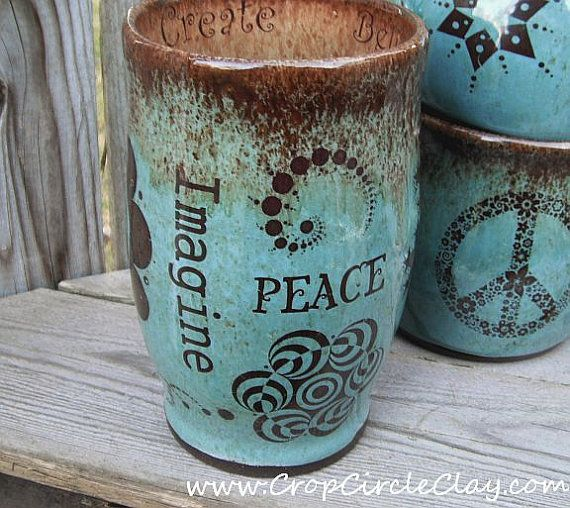 IMAGINE PEACE Earth Friendly Ceramic Travel Mug with Lid and Crop Circles in Robin's Egg, Aquamarine, Chocolate Brown