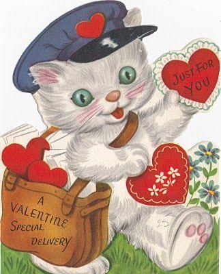 ValentineValentine'S Day, Kitty Cat, Valentine Day Cards, Vintage Wardrobe, Valentine Cards, Schools Memories, Happy Valentine, Vintage Valentine, Vintage Cat