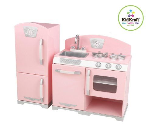 KidKraft Retro Kitchen and Refrigerator revives classic kitchen style in a kid's set. The perfect place to cook up some fun! This KidKraft Retro Kitchen and Refrigerator lets kids serve up play feasts for the whole family. The young chefs at your house will love the bright colors and adorable details of this Kitchen. More great features: Refrigerator, freezer, microwave and oven all open and close; Knobs on dishwasher, oven and sink turn; Removable sink for easy cleanup; Design and colors…