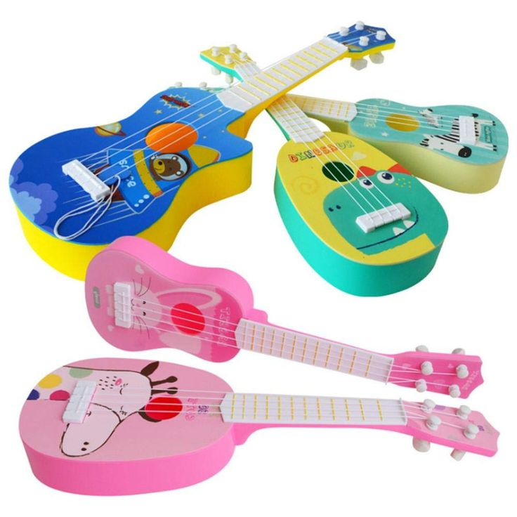 Kids Plastic Toy Sturdy Ukulele Non-toxic Musical Instrument Preschool Music Toy
