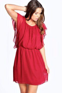 Ava Chiffon Angel Sleeve Dress at boohoo.com