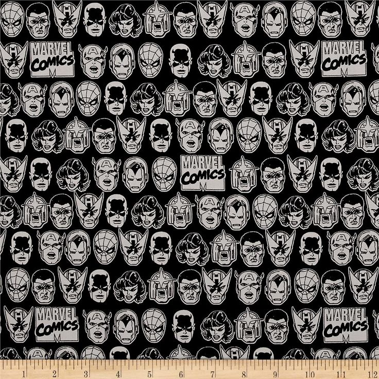 Marvel Comics Character Heads Black from @fabricdotcom  Designed by Marvel Comics and licensed to Camelot Fabrics, this cotton print fabric features rows of your favorite Marvel characters, including Spider-Man, Captain America and Iron Man. Perfect for quilting, apparel and home decor accents. Colors include black and grey.