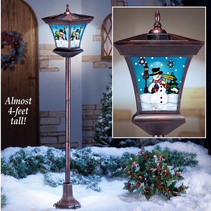 Solar Powered Lights Festive Snowman Scene Christmas Lamppost Decor 4 Feet Tall #LampPost #SolarPowered #Lights #Festive #Snowman #Christmas  #Yard #Garden #Stakes #Home #Outdoor #Holiday #Seasonal
