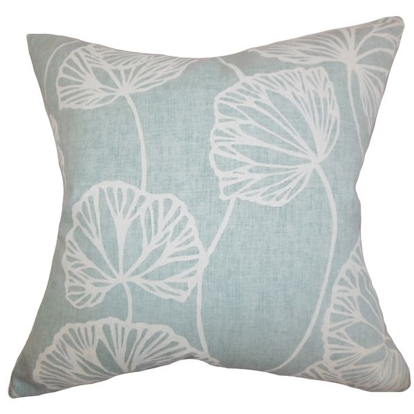 Domain Feather Filled Decorative Pillow : Fia Floral Blue Feather Filled 18-inch Throw Pillow by The Pillow Collection Products ...