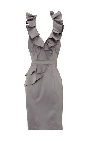 gorgeous dress: Rehearsal Dinners, Cute Dresses, Ruffle Dresses, Classy Grey, Grey Bridesmaid Dresses, Gorgeous Dresses, Beautiful Dresses I, Grey Dresses, Gray Dresses