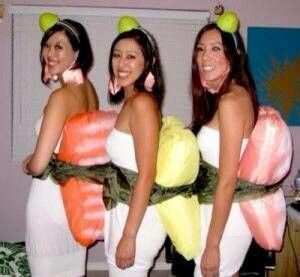 Cute DIY Sushi halloween costumes for women to make. Kind of a funny idea but I love it!! #Asian food #Sushi