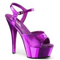 Pleaser Shoes Kiss-209 Chrome Purple Platform Ankle Strap Sandals | Fashion This Week