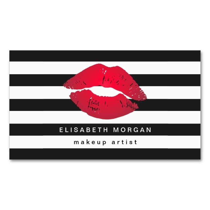 1120 best cosmetologist business cards images on pinterest card red lips black white stripes modern makeup artist business card colourmoves
