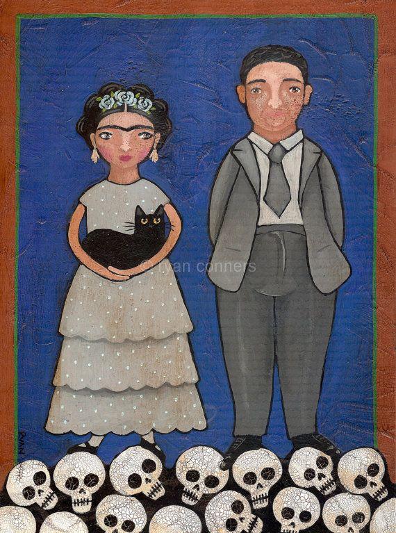 Frida and Diego Original Cat Folk Art Painting by KilkennycatArt, $75.00