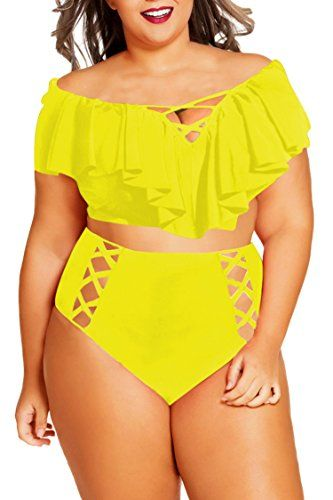 051fb663d19 Kisscy  Women Plus Size Off Shoulder Ruffles High Waisted  Bikini Sets   Swimsuit XL Yellow