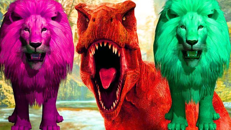 dinozorlar vs çocuklar için aslan 2017 | dinozorlar çocuklar için çizgi ...