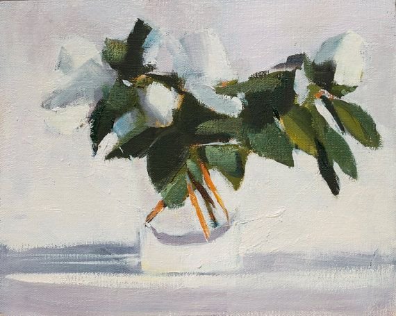 Floral Still Life Painting White Azalea in water glass by HOomen
