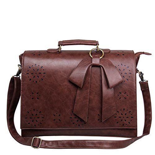 ECOSUSI Sac Cartable en Bandoulière pour Femme Sac à Main Vintage Sac d'Ordinateur Portable Sac Porté Travers Femme 37.5(L)*27(H)*10(W) cm:…